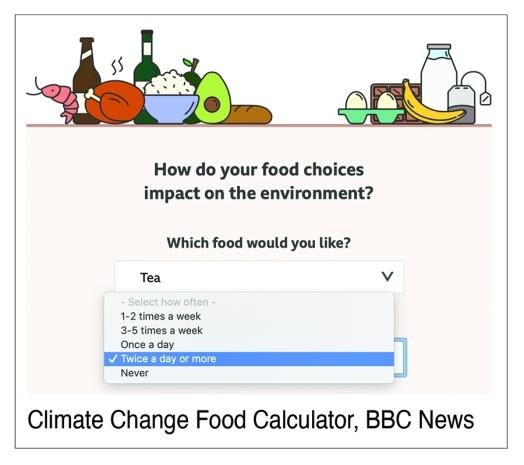 carbon calculator screenshot BBC